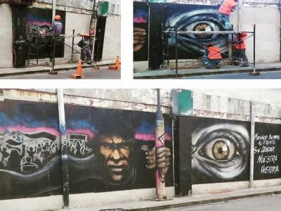 06 de Mayo-Volvieron a colocar los murales de Cromañón que habían sido removidos por la empresa Ferrocarriles Argentinos_